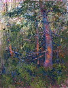 FOREST ENCOUNTER by Donna Shortt Pastel ~ 27 x 21