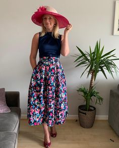 Day 3 of Royal Ascot and it's Ladies Day. This years racing is being held behind closed doors but luckily we're still able to watch @itvracing and a chance to dress up.  I do miss seeing the Queen and the Royal Procession. Here is my outfit for today #royalascotathome #styledwiththanks @ascotracecourse  Hat @alldunnupdesigns  Dress @closet_london  #ladiesday #ascotlook #alldressedupandnowheretogo #ladiesdayoutfit #racingathome #statementfashion #largehat #bespokehat #pinkmillinery… Fascinator Hats, Fascinators, My Outfit, Outfit Of The Day, Royal Ascot, Closed Doors, Ladies Day, Midi Skirt, Dress Up