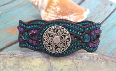 Beaded Leather Cuff, Unique 4 Row Cuff, Teal and Purple, Criss Cross Leather Bracelet, Boho, Artisan, Scalloped Cuff, Leather Bracelet by SunsetSouthPaw on Etsy