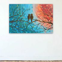 """Teal, turquoise, tangerine orange, & gold abstract two love birds in a tree painting.     What is it? Original abstract/whimsical love birds in a tree painting on canvas  Medium: Acrylic on gallery-wrapped (staples out of sight at the back), stretched, cotton canvas  Colours: Teal, turquoise, gold, & tangerine orange  Size: 30"""" x 20"""" x 0.9""""..."""
