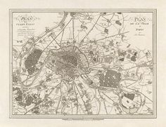 Antique Map of Paris, France from 1805