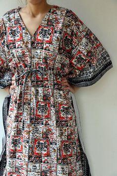 Indian African Maxi Dress Vintage 1970s Ethnic Boho Cotton