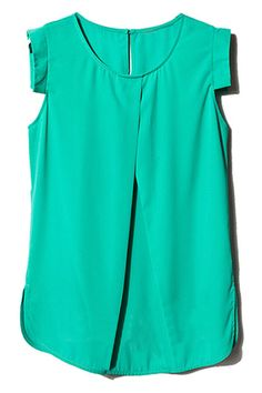 Cut-out Crossed Front Green Blouse. Description: Green blouse, featuring scoop neck, short sleeves, crossed front design, rear button with cut-out. unique arc hem, regular length. Perfectly going with bodycon skirt and high heels for shopping with your friends. Fabric: Polyester. Washing: Cool hand wash. #Romwe