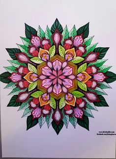 Floral mandala coloured with Chameleon pens by Wendy Vernon