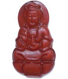 Marroon Chinese Old Jade Carved Sitting Lotus Seat Kwan-yin JingPing Pendant M47