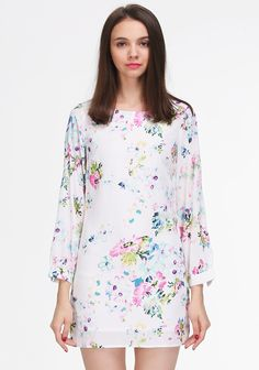 White Long Sleeve Floral Print Dress - Sheinside.com