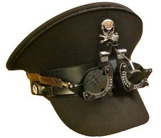 SDL Steam Punk military hat with handmade optical goggles with green lens #SDL #Military