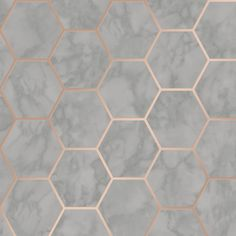 Add a modern twist to your space with the Crown CWV Margaret Marble Hexagon Wallpaper . The hexagon shapes have a marble pattern for a great accent wall. Grey Wallpaper Accent Wall, Grey Marble Wallpaper, Hexagon Wallpaper, Rose Gold Wallpaper, Brown Wallpaper, Hexagon Tiles, Hexagon Pattern, Bathroom Wallpaper, Hexagon Shape