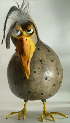"""You Have to be kidding. Clay Birds, Ceramic Birds, Ceramic Animals, Clay Animals, Chicken Crafts, Chicken Art, Hand Painted Gourds, Pottery Animals, Paper Mache Crafts"