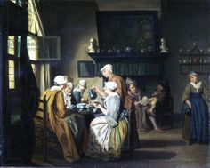 Bourgeois interior with ladies drinking tea, a man reading by the fireplace (oil on canvas) 18th century, Horemans, Jan Josef the Elder (1682-1759)