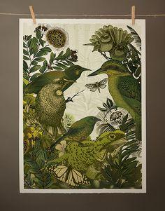 ANIMAL KINGDOM   Digital Print: A2 $290 Edition of 50   Flox.co.nz Digital Prints, Digital Art, Kiwiana, Illustration Art, Illustrations, Animal Kingdom, Screen Printing, Mixed Media, Birds