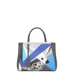 2JOURS Soft calfskin and blue neon flamingo handbag with horse hide and Ayers Qutweet pattern. Blue enamel bar, palladium trim and charm. Double handle and long detachable shoulder strap. Magnetic closure. Inside: two compartments divided by a zipped partition Made in Italy   Product code: 8BH253_1DU_F48 Suggested price $2,350.00