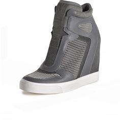 DKNY Grand Wedge Sneaker featuring polyvore, fashion, shoes, sneakers, wedge trainers, wedged sneakers, dkny, dkny sneakers and wedge sneakers