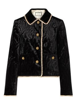 Gucci Faux pearl and Swarovski crystal-embellished devoré-velvet jacket - Gucci Jacket - Ideas of Gucci Jacket - Gucci Faux Pearl And Swarovski Crystal-embellished Devoré-velvet Jacket Black Velvet Blazer, Leather Blazer, Velvet Jacket, Tweed Blazer, Gucci, Swarovski, Blazers, Lace Jacket, Stage Outfits
