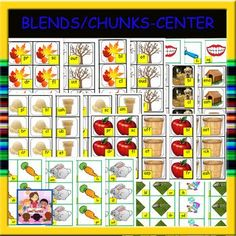 Your students will totally enjoying matching the blends with chunks in Literacy Centers. Homeschool Kindergarten, Kindergarten Lessons, Preschool, Learning Centers, Literacy Centers, First Grade Lessons, Cone Trees, Literacy Activities, Dog Houses