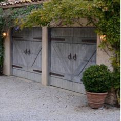 Garage doors with hardware