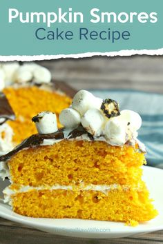 This Pumpkin S'mores Cake recipe is one dessert that your family will ask for again and again. Make sure you check this recipe out! #recipe #fall #dessertrecipe #dessert #smores #cake #pumpkin #frugalnavywife | Dessert Recipe | Fall Recipes | Smores Recipes | Pumpkin Recipes | Cake Recipes | Yummy Recipes | Pumpkin Cake Ideas Pumpkin Recipes, Fall Recipes, Yummy Recipes, Frugal Recipes, Easy Desserts, Delicious Desserts, Yummy Food, Smores Cake, Vegetarian Bake