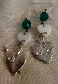 Your place to buy and sell all things handmade Heart Earrings, Drop Earrings, Etsy Earrings, Shells, Teal, Sterling Silver, Unique, Spicy, Jewelry