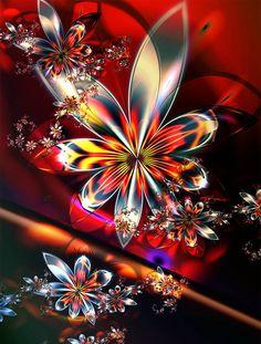 DIY Diamond Painting Staron Full Drill DIY Diamond Embroidery Rhinestone Painting Cross Stitch Kit Wall Art Decor Diamond Painting by Number Kits Home Decor Mandala (Colorful Flowers) Fractal Design, Art Fractal, Fractal Images, Mosaic Crosses, 3d Fantasy, 5d Diamond Painting, Butterfly Flowers, Colorful Flowers, Flower Art