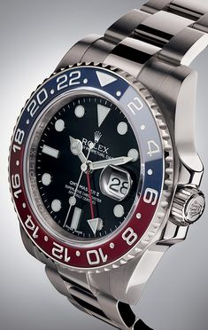 The latest Rolex GMT-Master II is equipped with a red and blue Cerachrom bezel, a colour combination long considered impossible to make in ceramic. It combines the best in high-tech performance –virtually scratchproof, resistant to corrosion and colour-fading – with the iconic look of the original 1955 model.