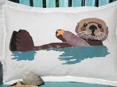 "Sea otter pillow 15""x20"" coastal saltwater beach ocean Ring of Bright Water endangered marine indoor outdoor seashore Crabby Chris Original..."