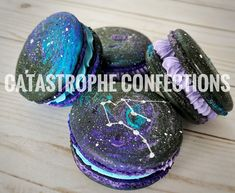 Galaxy Macarons - #Astrological #Aquarius  #Catastropheconfections #bakery #Galaxy #galactic #Birthday #Astrology #Purple #blue #aqua