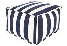 Stripes Outdoor Ottoman, Navy on OneKingsLane.com