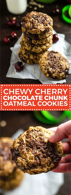 Chewy Cherry Chocolate Chunk Oatmeal Cookies - Host The Toast Easy Cookie Recipes, Donut Recipes, Cupcake Recipes, Cupcake Cakes, Dessert Recipes, Bar Recipes, Baking Recipes, Cupcakes, Chocolate Oatmeal