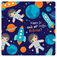 Uitnodigingen - Space astronaut en raket illustratie thema uitnodiging voor jongens by Little Smilemakers Studio
