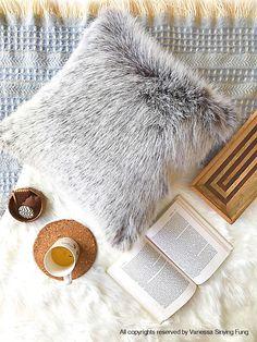 Grey Fur pillow covers 22 X 22 decorative Beige fur suede