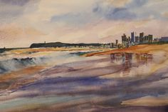 Durban  Beachfront from Pirates  Watercolour   280 x 250 sold