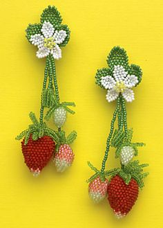 From the Strawberry Patch - Jewelry Store - aboriginal - The Best Jewelry Gift Ideas for the Holidays Seed Bead Jewelry, Bead Jewellery, Beaded Jewelry, Jewlery, Bead Embroidery Tutorial, Beaded Embroidery, French Beaded Flowers, Crochet Flowers, Jewelry Patterns