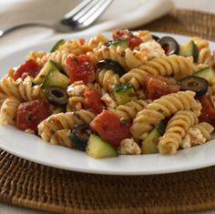 Greek Pasta Salad: This pasta salad is quick to prepare and perfect side dish for barbeques. Kids will have fun tossing the pasta to coat it in mustard dressing and crumbling the feta with their hands. This recipe comes to us from readyseteat.com. #KidsCookMonday
