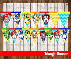 80% OFF SALE Rescue Bots Triangle Banner instant download, Printable Transformers Rescue Bots Triangle Banner, Rescue Bots Party Banner