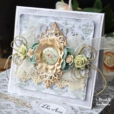 Shabby Chic Spring hand made  birthday / wedding card.  By Papiermania Lakuny