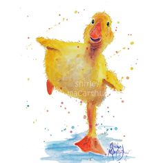 SHIRLEY MACARTHUR PRINT OR CANVAS 3 SIZES DUCKLING PAINTINGS- SPLISH SPLASH ..