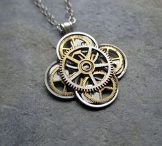 Mechanical Flower Necklace Lily Elegant by amechanicalmind on Etsy