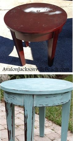 Refinish your old damaged furniture into coastal design inspired pieces with milk paint. Love the stenciled table top! See more photos here.