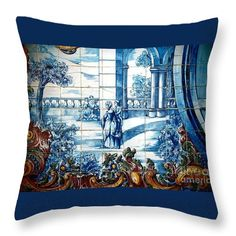 Throw Pillow featuring the photograph Portuguese Azulejos 01 by Dora Hathazi Mendes #homedecor #throwpillow #dorahathazi #tiles #portugal