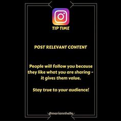 Tip time: Your audience has kindly handed you a follow because they are getting some kind of value from your posts   Take my account as an example; My account clearly provides Instagram tips inspiration and motivation.  Wouldn't you think I'd lost my mind if I suddenly started posting images of butterflies or clothes and purses...? You'd probably consider unfollowing my account immediately...lol   Stay true to your audience give them what they want and you'll most likely keep them!   Want to…