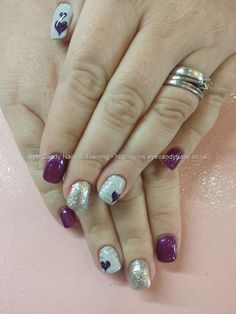 Purple and grey gel with freehand love hearts
