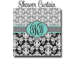 """Custom Personalized Monogram Shower Curtain - You Choose Size , 70"""" x 70"""", 70"""" x 90"""", or ANY size You Choose Colors -  Damask by HaveFaithBoutique on Etsy https://www.etsy.com/listing/170796833/custom-personalized-monogram-shower"""