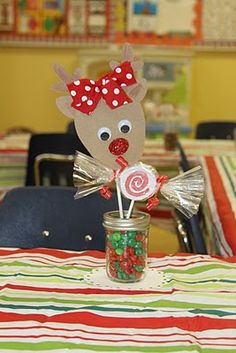 Ideas for class Christmas party.. including cute stations like painting a canvas reindeer! LOVE IT!!