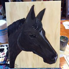 Painting of a horse created at the Art for the Animals Painting Party Fundraiser to benefit the Farm Animal Rescue of Mifflinburg on July 12th at the Barn Owl Art Studio.