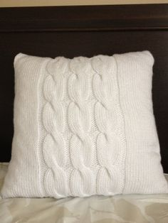 Hand knitted white pillow, cable pattern, pillow included  Target has these for $25!
