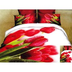 Bílý povlak na postel červerný tulipán - dumdekorace.cz