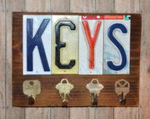 Rustic Pine Wall Key Holder Wood Display Sign, License Plate Letters, Unique Hanging Keys Sign, Key Display Gift, License Plate Art