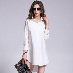 Fashion Women Blouse Turn-down Collar Button Sleeves Back Fold Irregular Hem T-Shirt White l white Online Shopping Stylish Shirts, Sexy Shirts, Fashion Hub, Womens Fashion, Sammy Dress, Asymmetrical Dress, Capsule Wardrobe, Blouses For Women, Nice Dresses