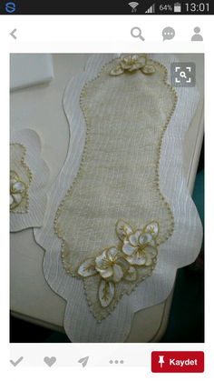 This Pin was discovered by Lal Cushion Embroidery, Silk Ribbon Embroidery, Hand Embroidery Designs, Handmade Crafts, Diy And Crafts, Lace Beadwork, Table Runner And Placemats, Tablerunners, Linens And Lace