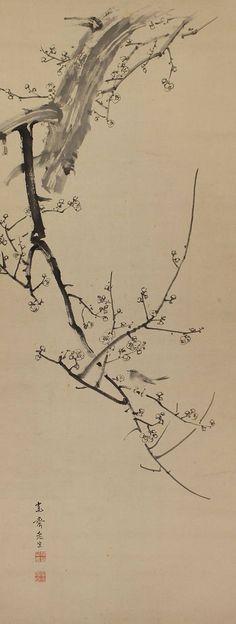 Inkwash Bird and flower Bush Warbler on Apricot Flower. Japanese hanging scroll, kakejiku ART